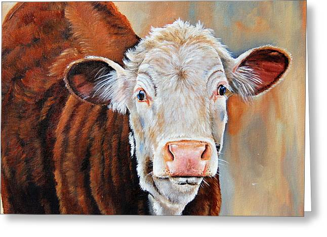 Steer Greeting Cards - Becca Greeting Card by Laura Carey
