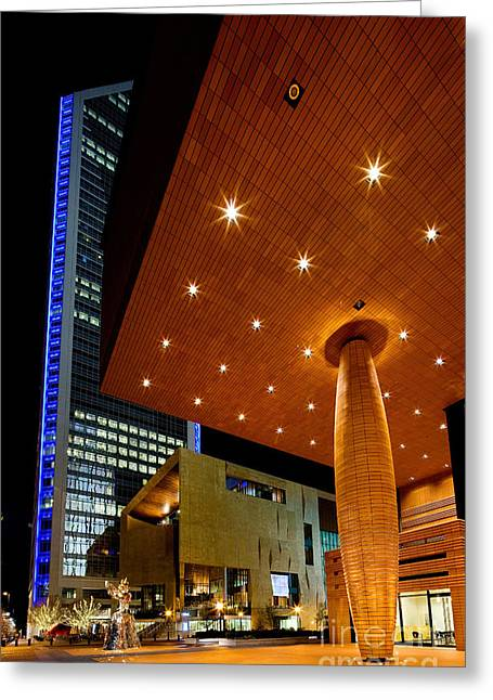 Charlotte Art Museums Greeting Cards - Bechtler Museum at night Greeting Card by Patrick Schneider