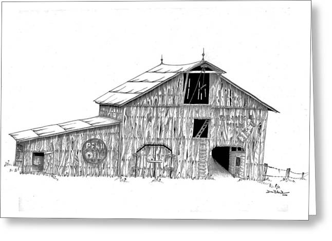 Drawings Of Barns Greeting Cards - Becks Dairy Greeting Card by Donald Black