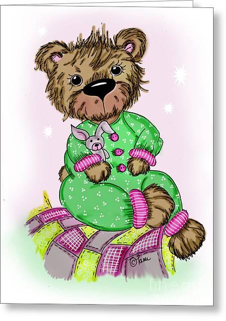 Pajamas Greeting Cards - Becky Bear Greeting Card by Tammy Talerico