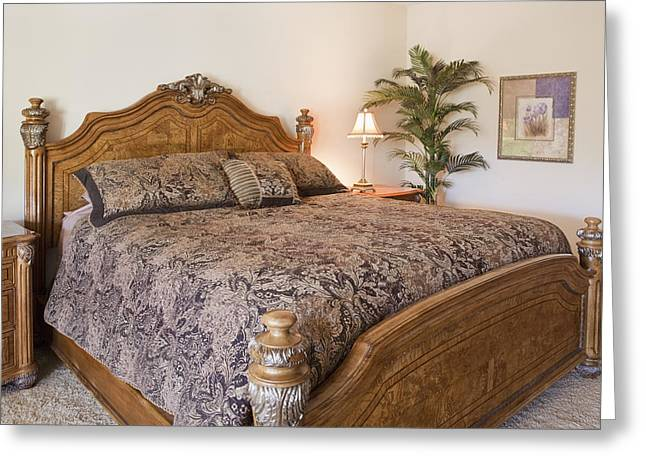 Residential Structure Greeting Cards - Bed In Bedroom Greeting Card by Bryan Mullennix