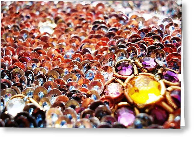 Ethnic Greeting Cards - Bed Of Sequins Greeting Card by Sumit Mehndiratta
