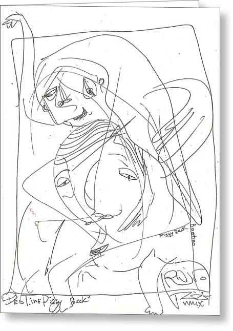 Raw Drawings Greeting Cards - Bed Time Piggy Back Greeting Card by Robert Wolverton Jr