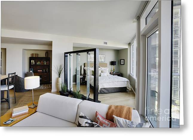 Angled Windows Greeting Cards - Bedroom Area and Living Room in Upscale Studio Apartment Greeting Card by Andersen Ross