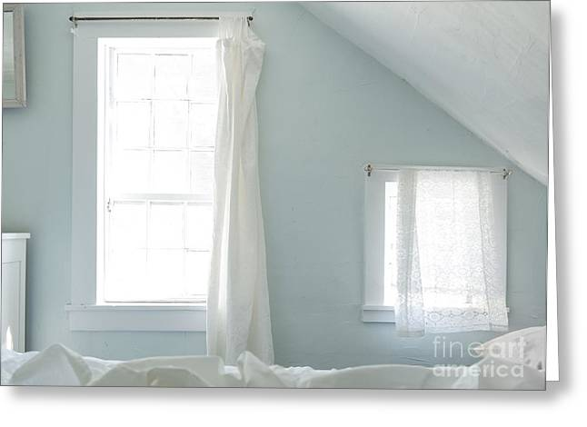 Bed Spread Greeting Cards - Bedroom Blues Greeting Card by John Greim