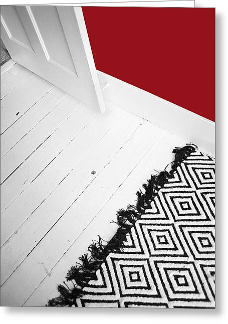 Floorboards Greeting Cards - Bedroom Door And Old Painted Wooden Greeting Card by Marlene Ford