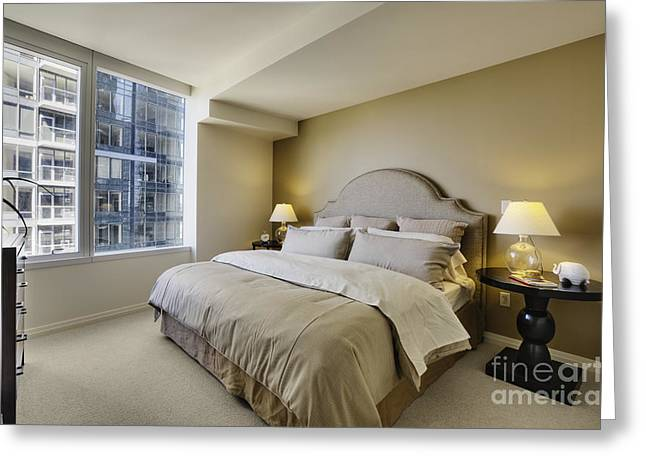 Angled Windows Greeting Cards - Bedroom in High Rise Condo Greeting Card by Andersen Ross