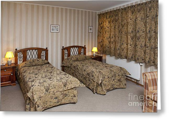 Bedside Table Greeting Cards - Beds In Hotel Room Greeting Card by Jaak Nilson