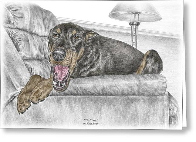 Bedtime - Doberman Pinscher Dog Print Color Tinted Greeting Card by Kelli Swan