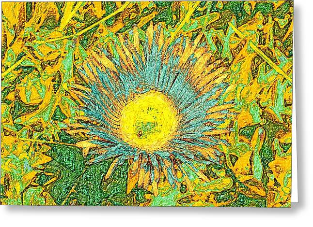 Van Gogh Style Greeting Cards - Bee and flower in Impressionism Van Gogh bright style Greeting Card by James Stanfield