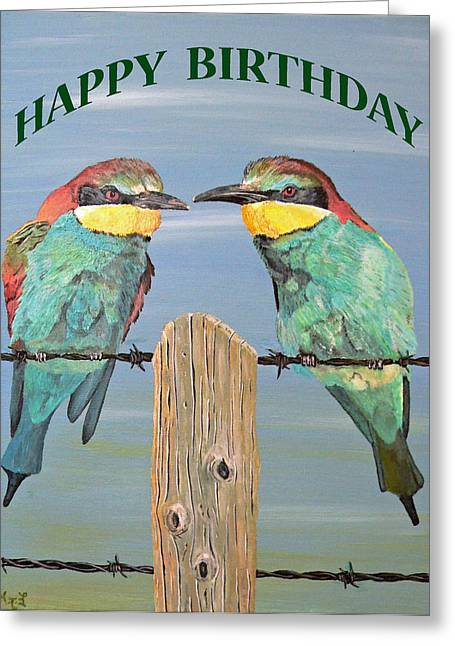 Eric Kempson Greeting Cards - Bee Eaters Happy Birthday Greeting Card by Eric Kempson