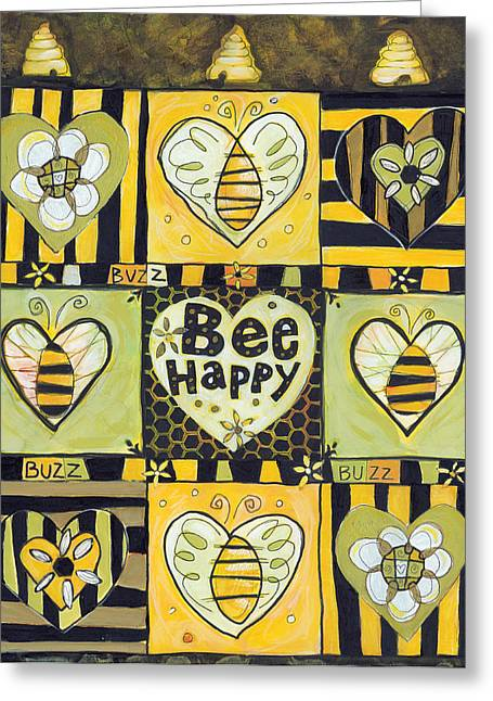 Hand Drawn Greeting Cards - Bee Happy Greeting Card by Jen Norton