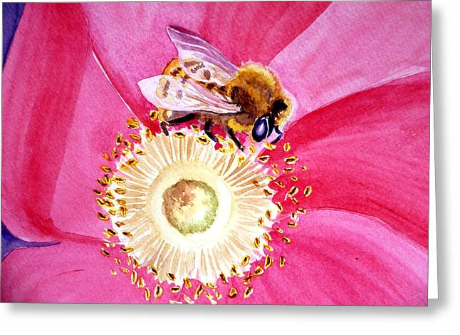 Close Up Paintings Greeting Cards - Bee On A Top Greeting Card by Irina Sztukowski