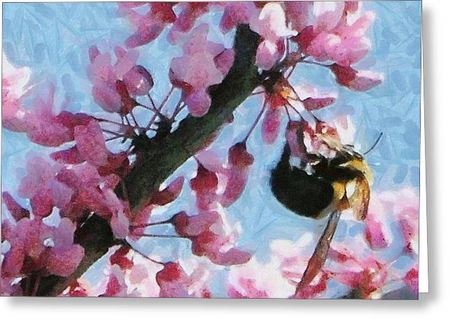 Pink Flower Branch Digital Art Greeting Cards - Bee to the Blossom Greeting Card by Jeff Kolker