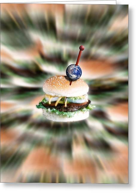Beefburger World Greeting Card by Victor Habbick Visions