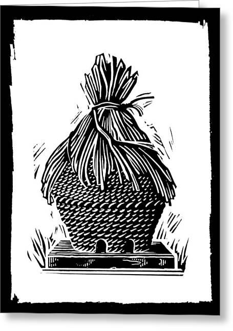 Linocut Greeting Cards - Beehive, Woodcut Greeting Card by Gary Hincks