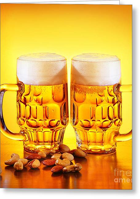 Amber Beer Greeting Cards - Beer and nuts Greeting Card by Anna Omelchenko
