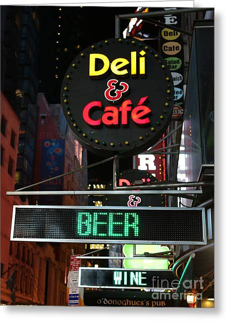 Do Business Greeting Cards - Beer and Wine at the New York Deli Greeting Card by Lee Dos Santos
