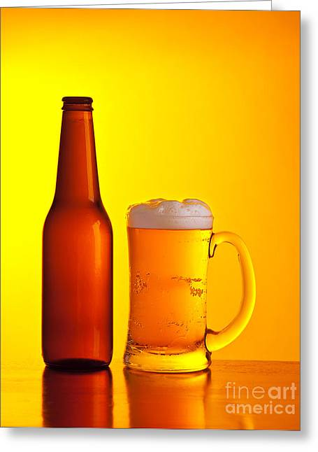 Amber Beer Greeting Cards - Beer Greeting Card by Anna Omelchenko