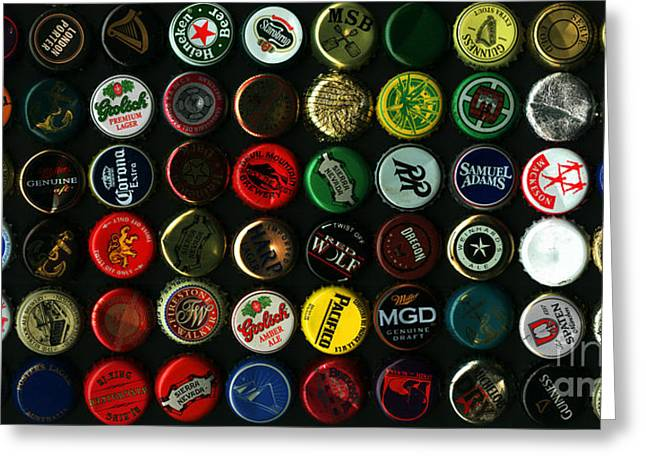 Bottle Cap Collection Greeting Cards - Beer Bottle Caps . 2 to 1 Proportion Greeting Card by Wingsdomain Art and Photography