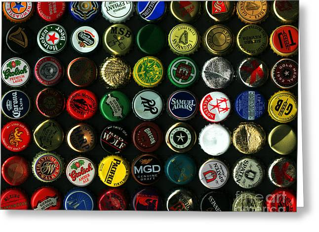 Bottle Cap Collection Greeting Cards - Beer Bottle Caps . 8 to 10 Proportion Greeting Card by Wingsdomain Art and Photography
