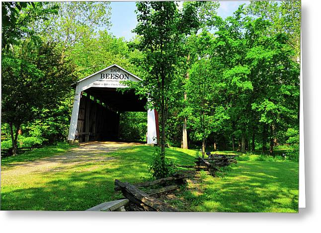 Rural Indiana Greeting Cards - Beeson Covered Bridge Greeting Card by David Arment