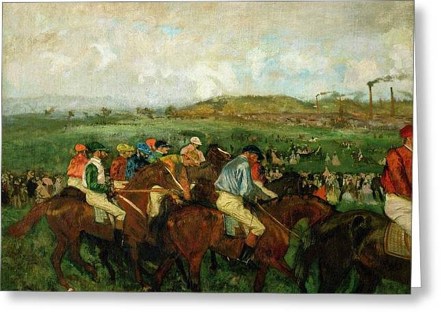 Jockeys Greeting Cards - Before the Departure Greeting Card by Edgar Degas