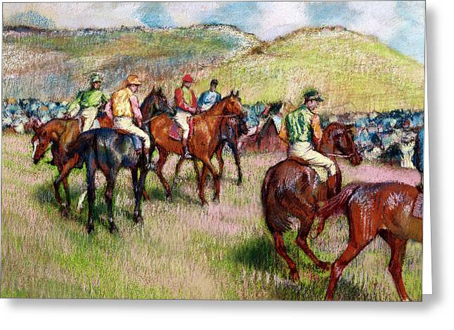 Jockeys Greeting Cards - Before the Race Greeting Card by Edgar Degas