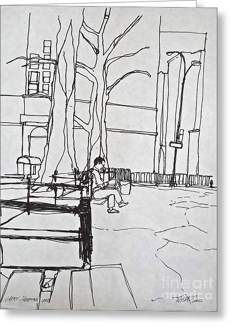 Park Benches Drawings Greeting Cards - Before the Rain Greeting Card by Wade Hampton