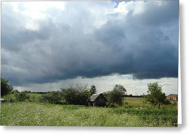 Provence Village Greeting Cards - Before the storm Greeting Card by Nadzeya Kirydon