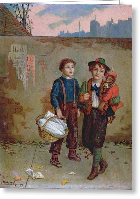 Beg Greeting Cards - Beggars and a Monkey Greeting Card by Augustus Edward Mulready