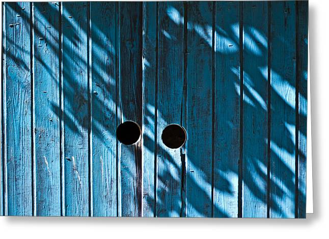Behind  Blue Doors Greeting Card by Tal Richter