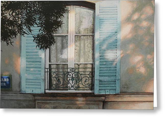 Recently Sold -  - Old Street Greeting Cards - Behind Lace Curtains Greeting Card by Helen Parsley