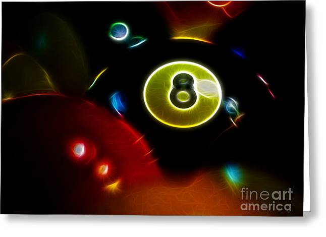 Billards Greeting Cards - Behind The Eight Ball - Electric Art Greeting Card by Wingsdomain Art and Photography