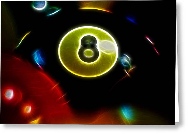 Billiard Digital Art Greeting Cards - Behind The Eight Ball - Square - Electric Art Greeting Card by Wingsdomain Art and Photography