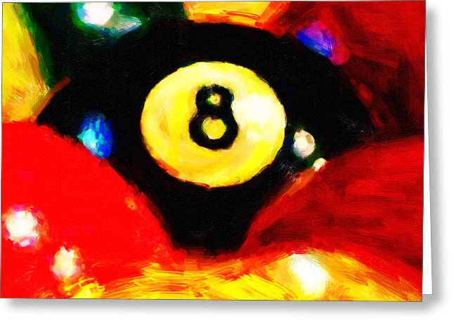 Billards Greeting Cards - Behind The Eight Ball - Square Greeting Card by Wingsdomain Art and Photography