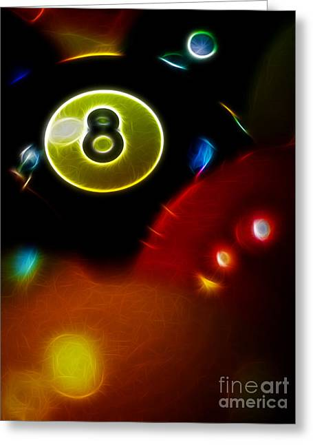 Billards Greeting Cards - Behind The Eight Ball - Vertical Cut - Electric Art Greeting Card by Wingsdomain Art and Photography