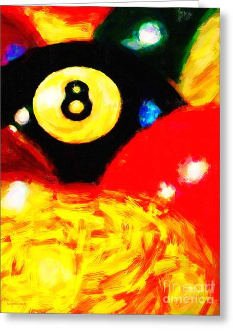 Behind The Eight Ball - Vertical Cut Greeting Card by Wingsdomain Art and Photography