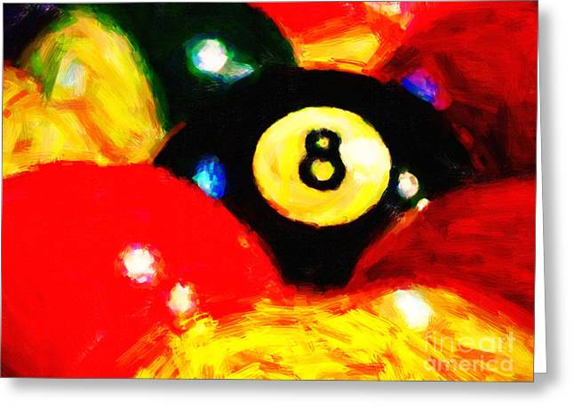 Billards Greeting Cards - Behind The Eight Ball Greeting Card by Wingsdomain Art and Photography