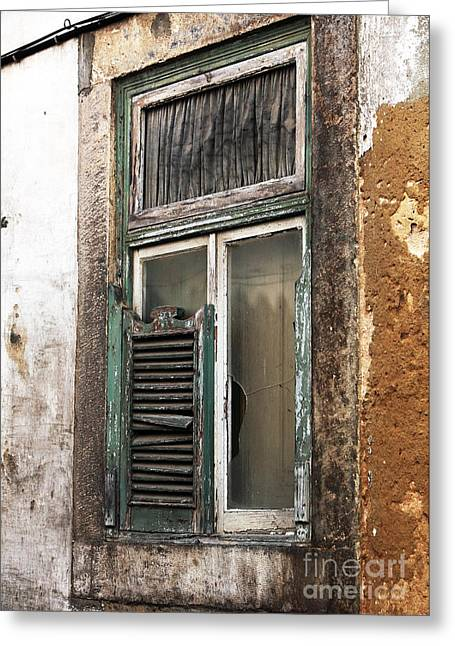 Broken Shutters Greeting Cards - Behind the Green Shutter Greeting Card by John Rizzuto