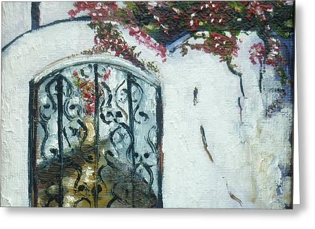 Door Greeting Cards - Behind the Iron Gate Greeting Card by Therese Alcorn