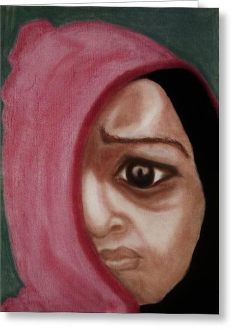 Dark Eyes Pastels Greeting Cards - Behind The Mask Greeting Card by Mireille K