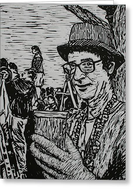 Lino Print Greeting Cards - Behind the Parade Greeting Card by William Cauthern