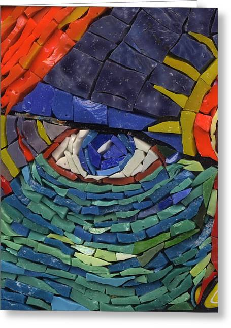 Detail Glass Art Greeting Cards - Behold - Fantasy Face No. 1 Greeting Card by Gila Rayberg