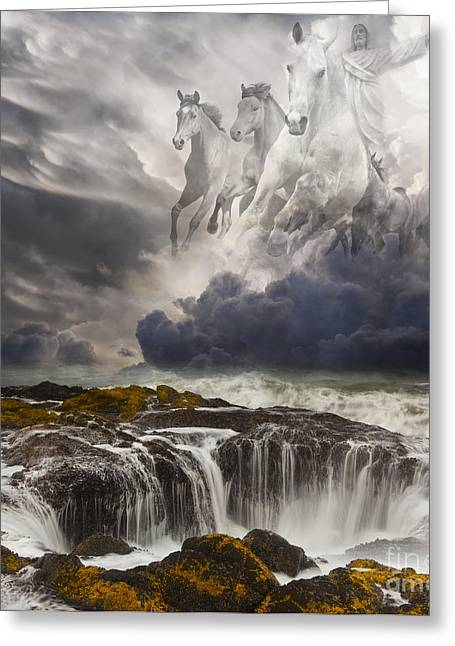 Thunderstorm Greeting Cards - Behold a White Horse Greeting Card by Keith Kapple