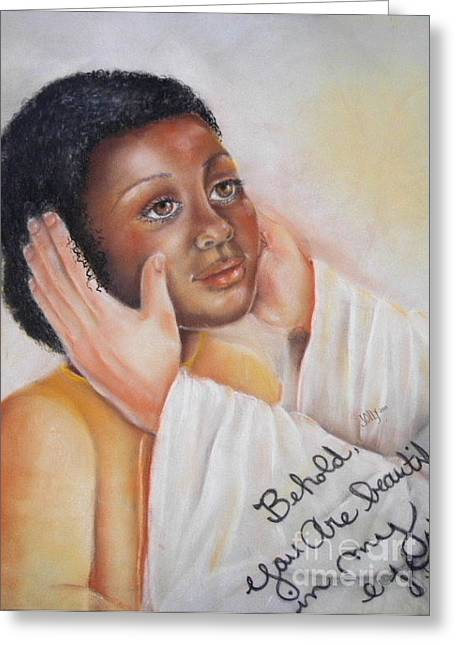 African-american Drawings Greeting Cards - Behold You Are Beautiful in My Eyes Greeting Card by Jane Jolly Chappell