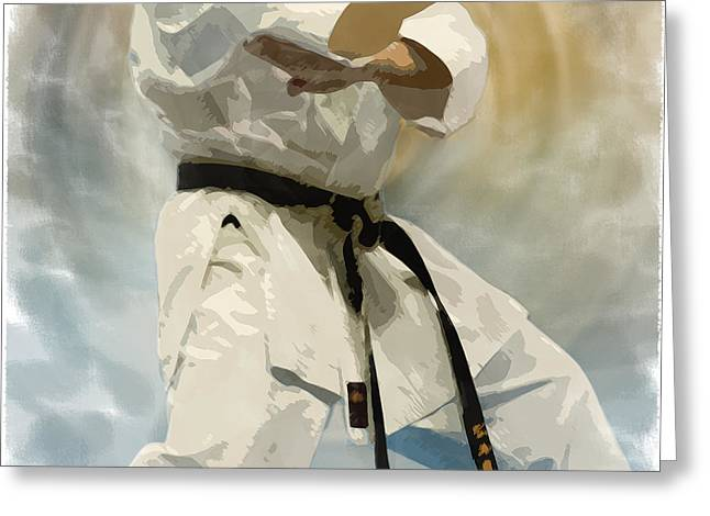 Sports Action Greeting Cards - Being a Black Belt Greeting Card by Deborah Lee