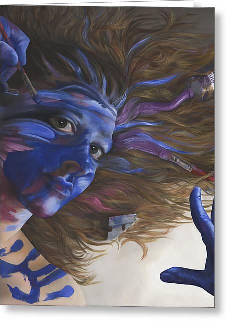 Bipolar Paintings Greeting Cards - Being Art Greeting Card by Katherine Howard