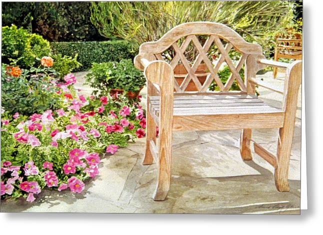 Most Paintings Greeting Cards - Bel-Air Bench Greeting Card by David Lloyd Glover