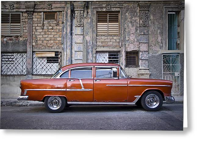 Havanna Greeting Cards - Bel Air Chevrolet - Havana Cuba Greeting Card by Artecco Fine Art Photography